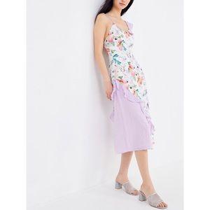 UO Darcie Mixed Print Cross Back Midi Dress